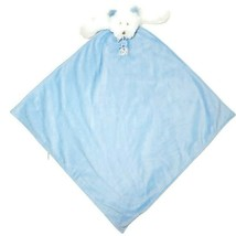 Blankets & Beyond Lovey Security Blanket White Teddy Bear 25x25 Large Blue Baby - $29.65