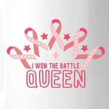 Won The Battle Queen Breast Cancer Awareness White Mug image 2