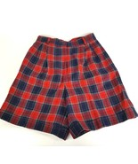 VTG Talbots Petites Womens Size 10 Red Blue Plaid 100% Wool Lined Shorts... - $17.75