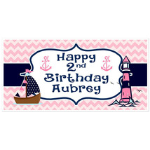 Nautical Anchor Lighthouse Birthday Banner Personalized Party Backdrop - $22.28