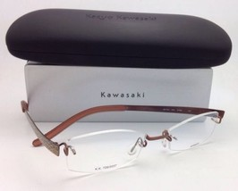 Nuevo Kazuo Kawasaki Gafas Mp 704 43 50-19 Titanio sin Montura Marrón/Serpiente