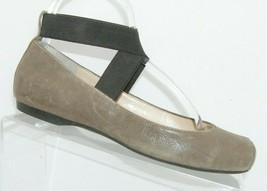 Jessica Simpson Mandalaye brown leather elastic cross strap slip on flats 6.5M - $33.30