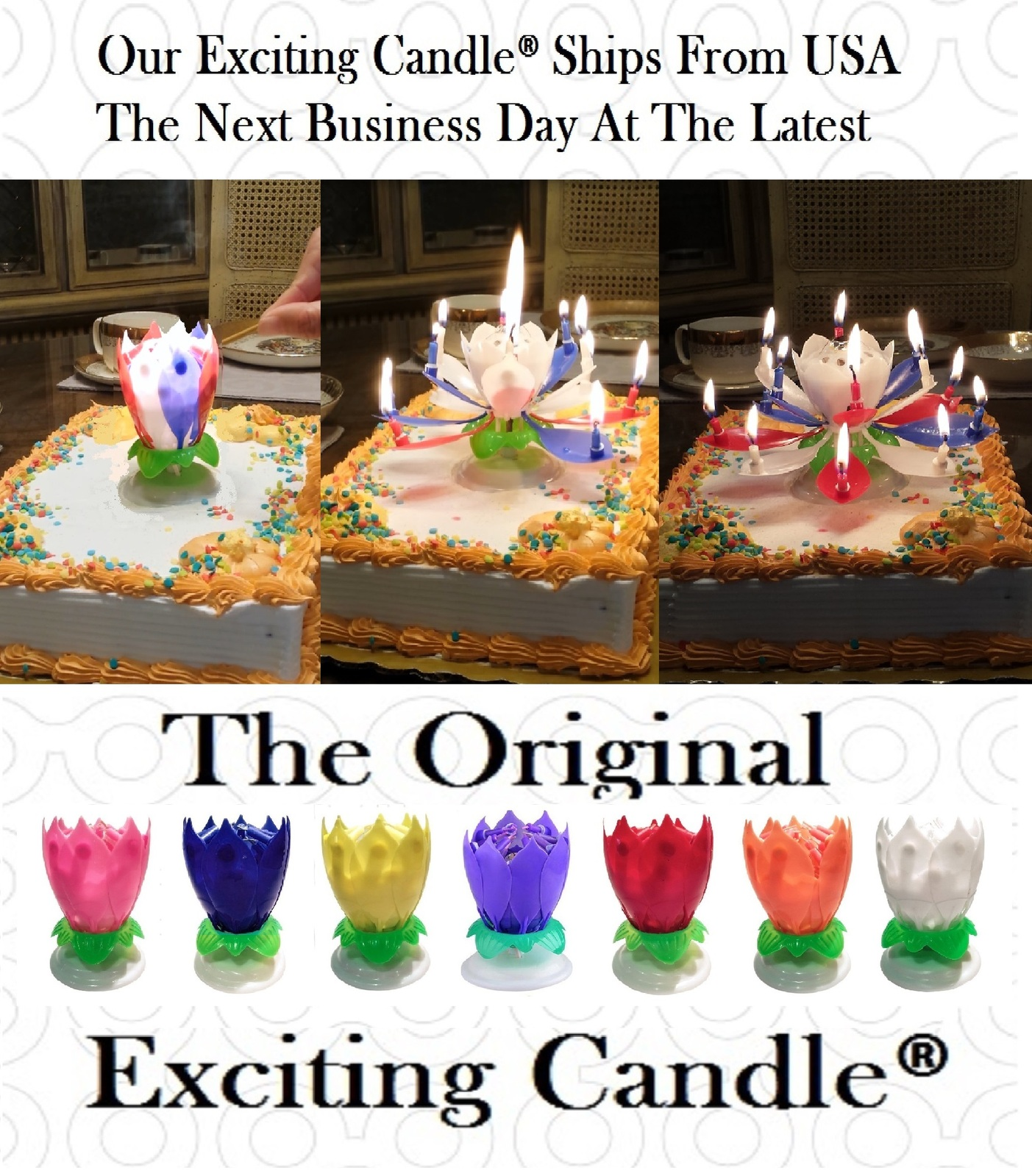 1 Rainbow + 1 R/W/B  Amazing Lotus Flower Music Happy Birthday EXCITING CANDLE