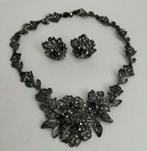 Rhinestone Necklace Clip On Earrings Set Choker Collar Smokey Grey Unsig... - $39.58