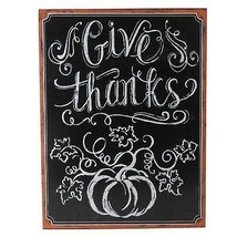 """Northlight 14"""" Holiday Inspired Framed Give Thanks Inscribed Chalkboard ... - $15.58"""