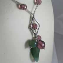 .925 RHODIUM SILVER NECKLACE, GREEN JADE AND FACETED PURPLE CRYSTALS. image 3