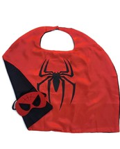 Superhero Child Cape and Mask Satin Lined Cape Red with Black Spider   E... - $6.99