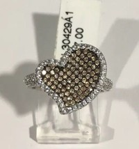 Sterling Silver Women's Heart Shape Ring With Brown & White cz Stones - $84.15