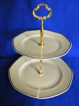 2 Tiered Tidbit Server Homer Laughlin Yellow Stone Gold Trim Very Nice - $29.95