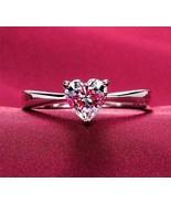 1Ct Heart-Shape VVS1/D Diamond Solitaire Valentine Gift Ring 14K White Gold Over - $100.38