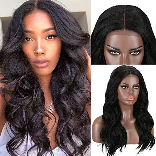 Myfashionhair 1B Natural Black Wavy Lace Wig Human Hair Brazilian Curly Lace Fro