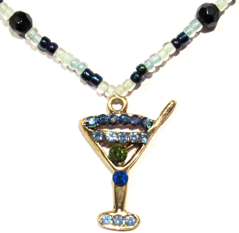 Drink Cocktail Anklet Blue Multicolor Crystal Charm Dangle Bead Beaded Band  - $19.99