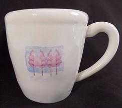 Starbucks Coffee Mug Art Painted Scene Pink Trees Fall 2007 12 oz Cup - $12.85