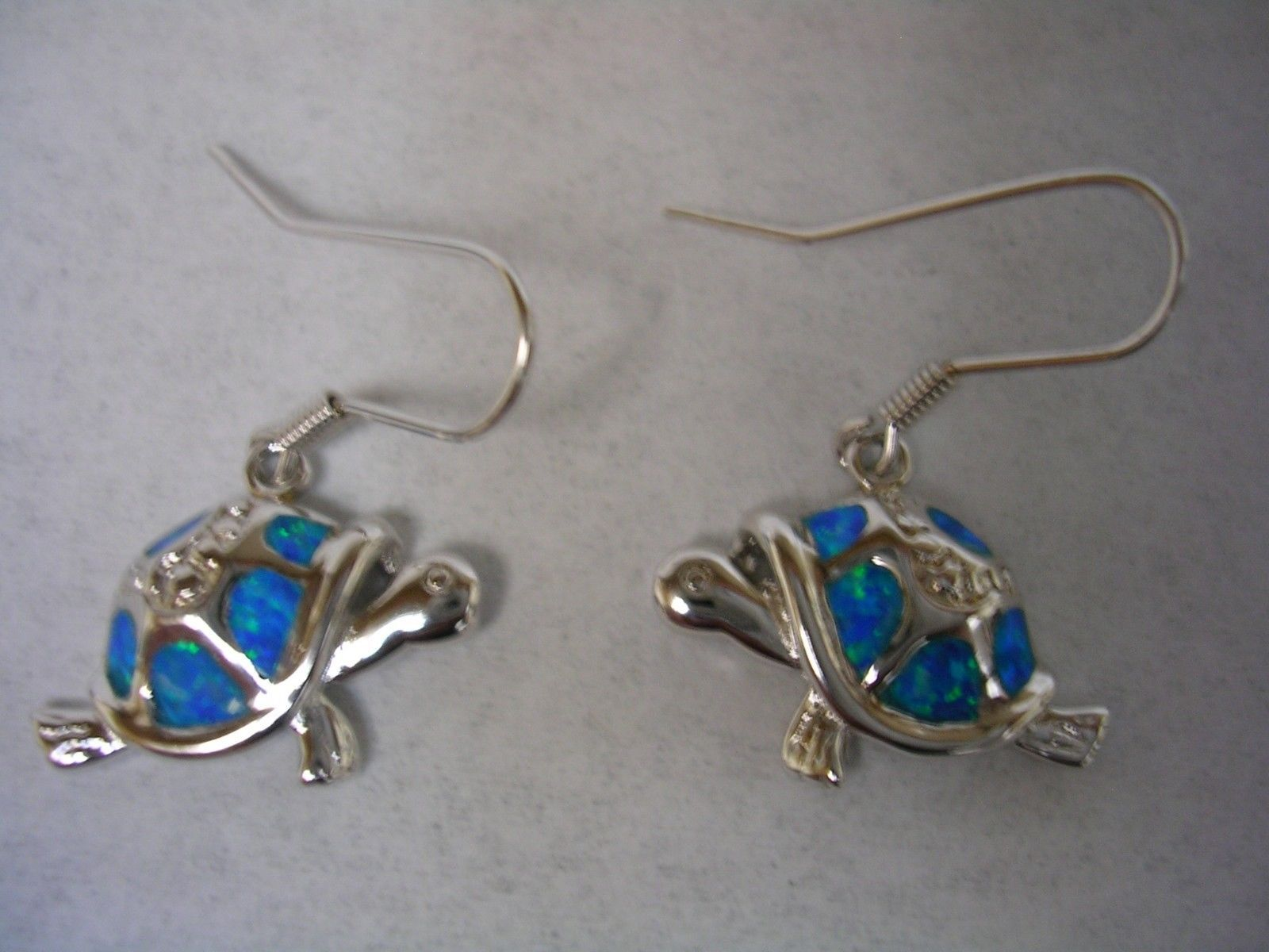Primary image for TURTLE DANGLING EARRINGS WITH OPALS SET IN STERLING SILVER