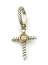 Authentic Brighton Yalta Cross Charm JC1652 Silver and Gold Finish, New - $14.24