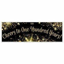 Black And Gold Cheers To One Hundred Years Birthday Banner Party Decorat... - $28.22+