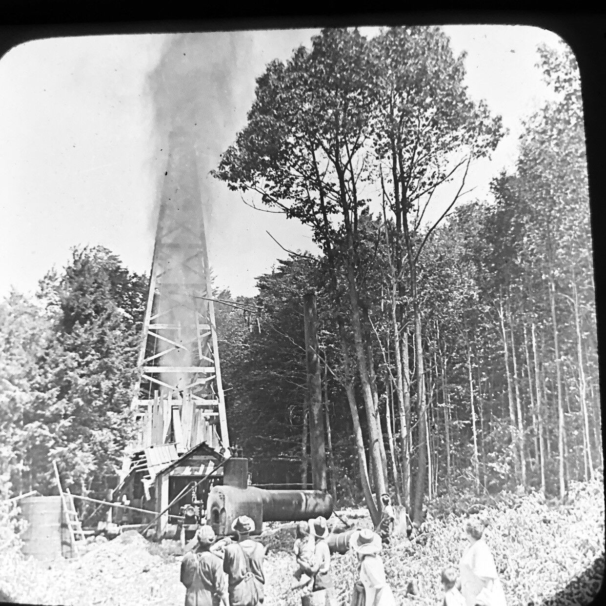 Vtg Magic Lantern Glass Slide Photo Keystone Shooting Oil Well PA