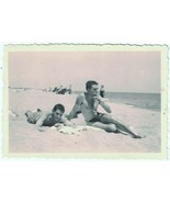 1940s Two Shirtless Men in Trunks on Beach, one in Bikini vint. photo or... - $13.10