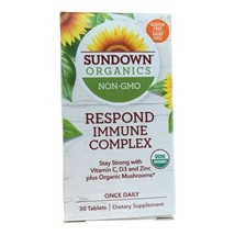 (2) Sundown Organics Respond Immune Complex Vitamin C, D3+Mushrooms exp 6/2022 - $15.90