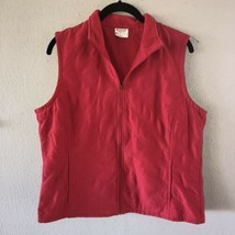 Columbia Womens Zip Up Vest Size Large Lightweight Quilted Fleece Red  - $17.41