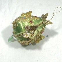 Vintage 60s/70s Satin Green Gold Butterfly Pearl Beaded Christmas Orname... - $27.55