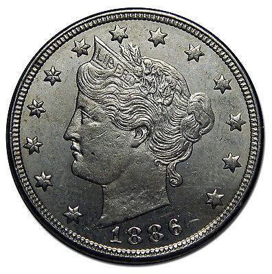 1886 V Nickel Liberty Head 5¢ Coin Lot# MZ 2631