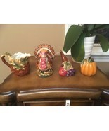 Harvest Pumpkin Fall Thanksgiving Cornucopia 4 Piece Table Set Halloween - $24.74