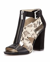 Women's Shoes Michael Kors ANYA OPEN TOE Sandal Embossed Leather Black Natural - $125.99
