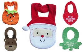 NEW Baby Terry Cloth Teething Drool Bib Holiday Santa Reindeer Pumpkin H... - $3.99