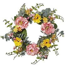 VGIA 20 Inch Artificial Peony Flower Wreath Silk Spring Wreath for The (... - $44.95