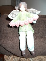 NWT ANGEL WITH BLUE BIRDS SITS SHELF FIGURINE BLESS OUR FAMILY ON WINGS - $7.69