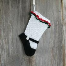 Handmade Mary Jane Christmas Stocking Girl Dress Shoe Stocking Black Mar... - $54.44