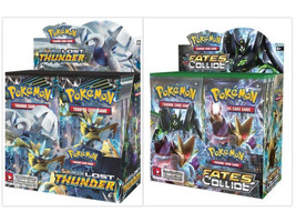 Pokemon TCG Sun & Moon Lost Thunder + XY Fates Collide Booster Box Bundle - $209.99