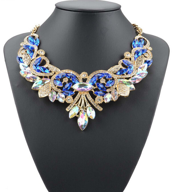 Hot Fashion Necklaces & Pendants Multi-color Crystal Bib Statement Necklace Wate