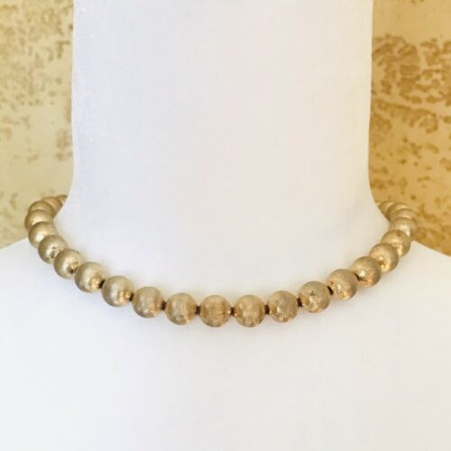 Vintage Monet Textured Gold Ball Beaded Necklace