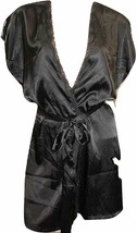Victoria's Secret Lace Trimmed Short Sleeves Satin Robe Medium Black - $54.28
