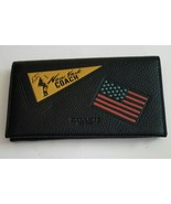 Coach F24650 Black Leather Universal Phone Case New York USA Flag Patche... - $59.99