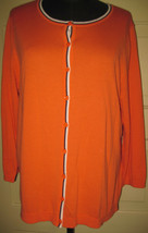 TALBOTS Orange3/4 Sleeve Button Down Cardigan Sweater L - $11.00