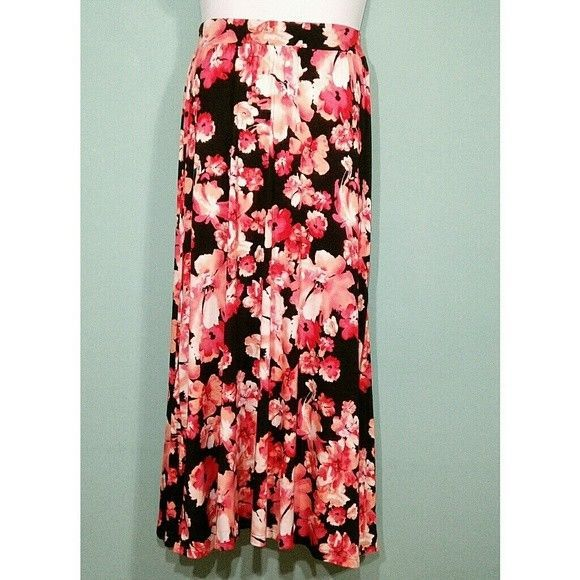Primary image for Jessica London Women's Skirt Stretch Jersey Maxi Floral Print Sz12 MSRP$49.99