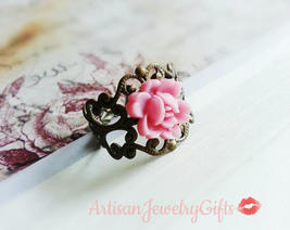 Pink Blossom Ring Antique Brass Lace Ring Flower Ring Antique Brass Fili... - $28.00