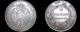 1872-PTS FE Bolivian 1 Boliviano World Silver Coin - Bolivia - $84.99