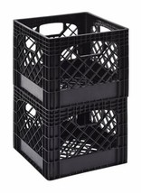 "PLASTIC DAIRY BEVERAGE MILK Bottle CRATE Box Storage 11"" x 13"" x 13"" Black  - $35.49"