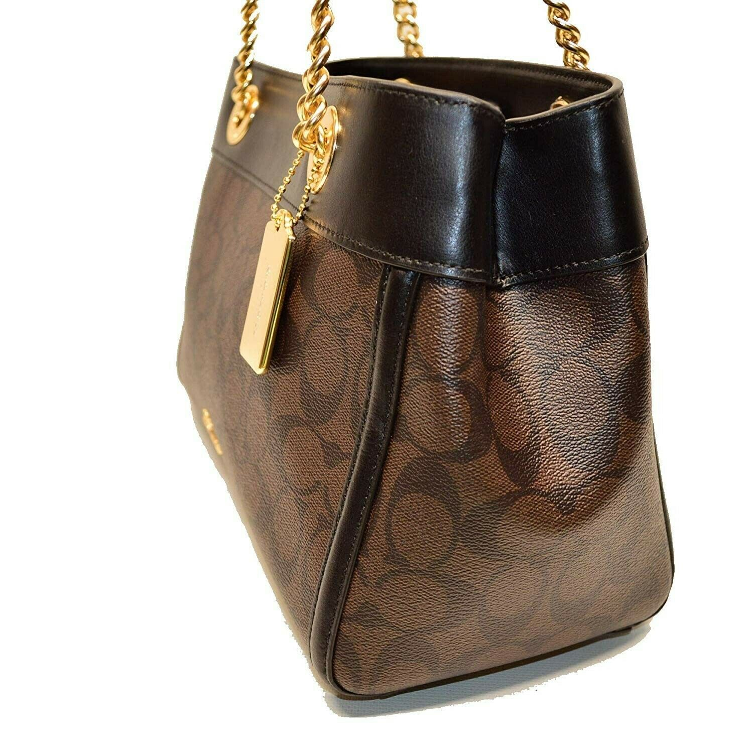 NWT COACH Brooke Chain Carryall Signature Shoulder Gold Chain Bag Brown F39711