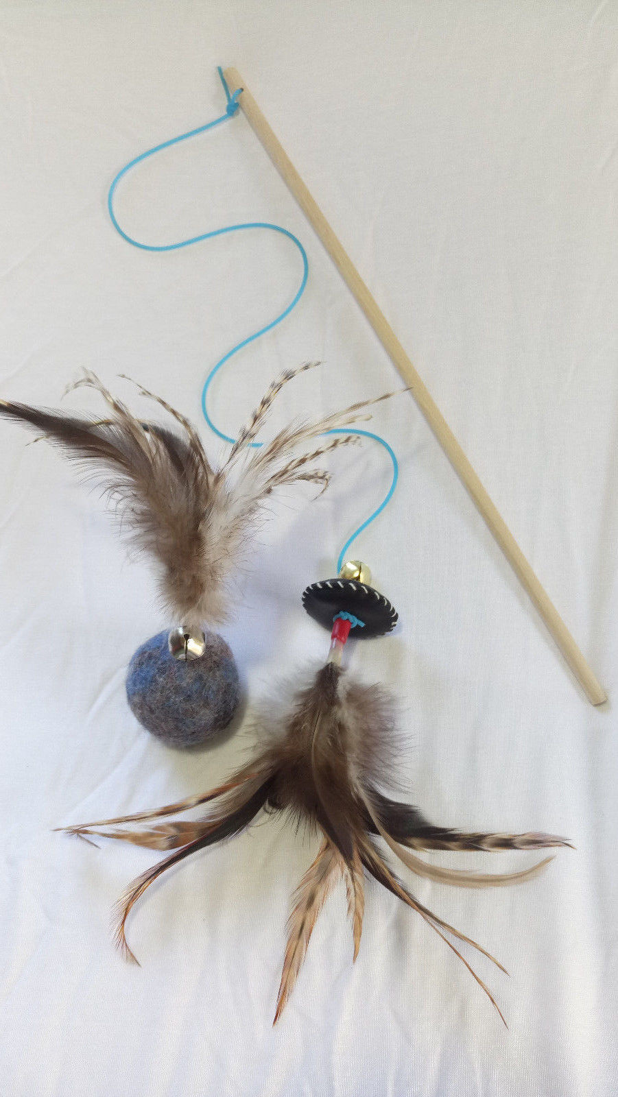 Smart & happy Cat toys  Interactive cat teaser wand and wool ball with feathers - $23.99