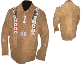 QASTAN Men's New Native American Eagle Beads Fringes Suede Leather Shirt... - $140.24+