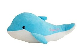 Lovely Dolphin Hand Hold Pillow Durable Plush Toy for Kids Great Gift Blue 37CM