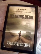 "Black Framed The Walking Dead Poster Season 2 Rick 18 1/2"" X 12 1/2"" Amc 2011 - $34.60"