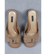 ALEX MARIE KALINA  Silver Logo Buckle Beige Leather Teardrop Wedge Women... - $19.80
