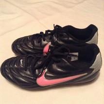 Nike shoes Size 4.5 soccer baseball softball cleats black pink Girls athletic  - $22.99