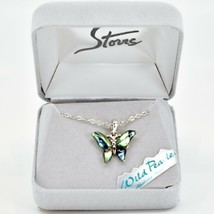 A.T. Storrs Wild Pearle Abalone Shell Butterfly Pendant & Silver Tone Necklace